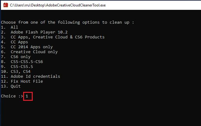 Adobe Cleaning Tool fyrsti valkosturinn