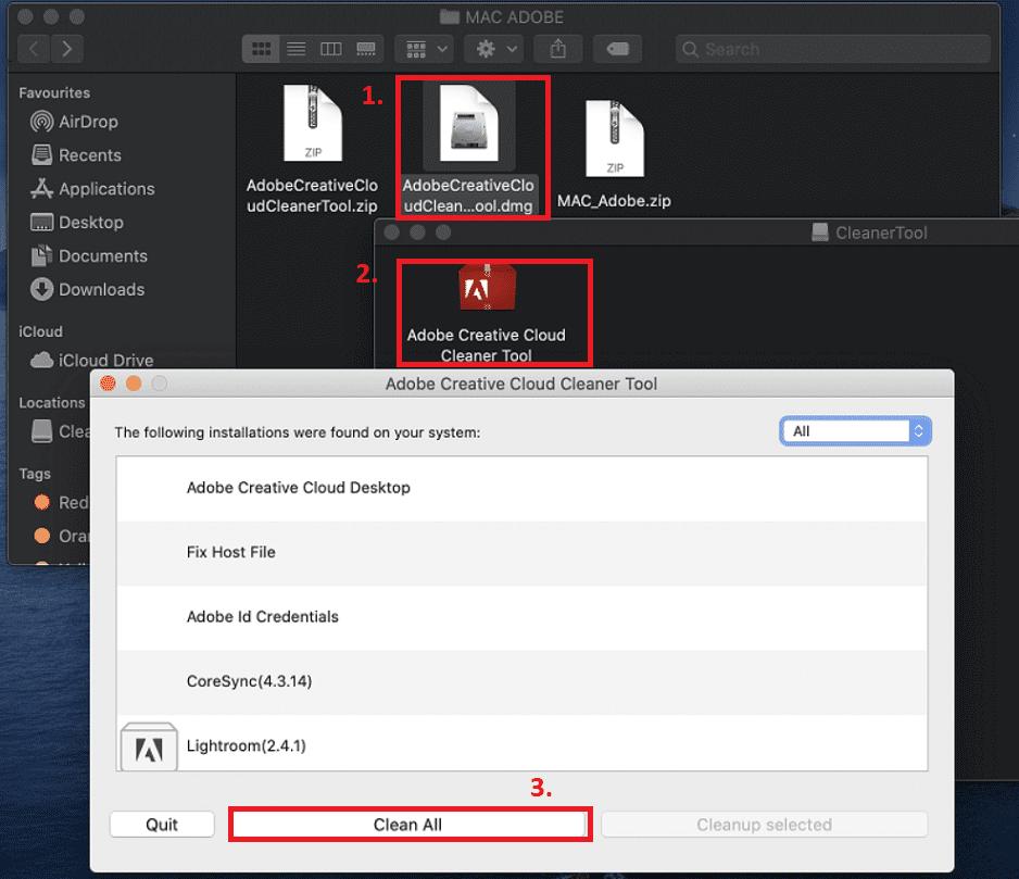Hreinsa Adobe með Cleaning Tool