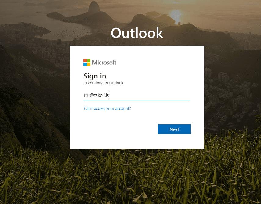 Innskráning á Microsoft portal